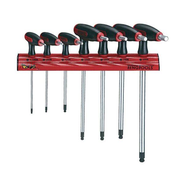 Set Chei Imbus cu Maner T 7 Piese - Teng Tools - 128260106